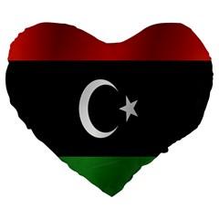 Flag Of Libya Large 19  Premium Heart Shape Cushions