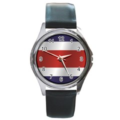 Flag Of Costa Rica Round Metal Watch