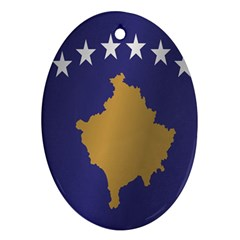 Flag Of Kosovo Oval Ornament (Two Sides)