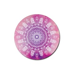 Pink Watercolour Mandala Rubber Round Coaster (4 pack)
