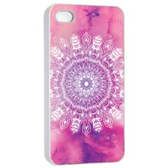 Pink Watercolour Mandala Apple iPhone 4/4s Seamless Case (White)