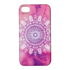 Pink Watercolour Mandala Apple iPhone 4/4S Hardshell Case with Stand