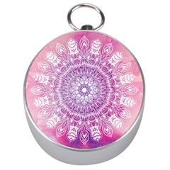 Pink Watercolour Mandala Silver Compasses
