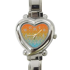 Ombre Fire and Water Pattern Heart Italian Charm Watch