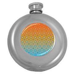 Ombre Fire and Water Pattern Round Hip Flask (5 oz)