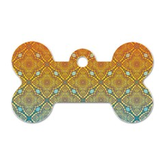 Ombre Fire and Water Pattern Dog Tag Bone (Two Sides)