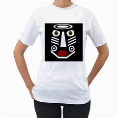 African mask Women s T-Shirt (White) (Two Sided)