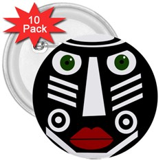 African mask 3  Buttons (10 pack)