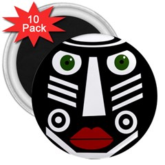 African mask 3  Magnets (10 pack)