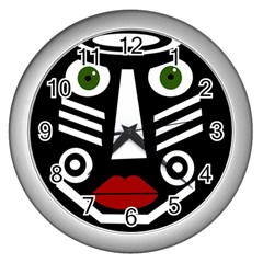 African mask Wall Clocks (Silver)