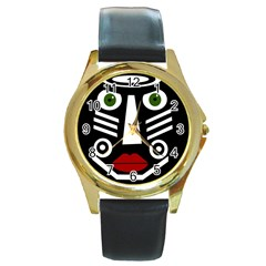African mask Round Gold Metal Watch