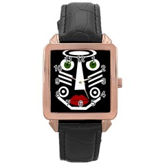 African mask Rose Gold Leather Watch