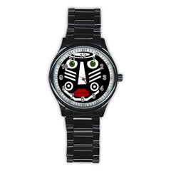 African mask Stainless Steel Round Watch