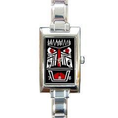 African red mask Rectangle Italian Charm Watch