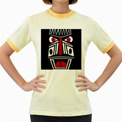 African red mask Women s Fitted Ringer T-Shirts