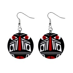 African red mask Mini Button Earrings