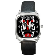African red mask Square Metal Watch