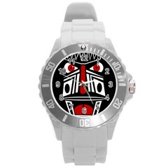 African red mask Round Plastic Sport Watch (L)