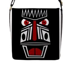 African red mask Flap Messenger Bag (L)