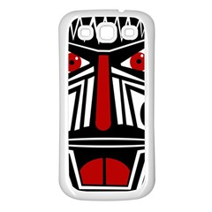 African red mask Samsung Galaxy S3 Back Case (White)