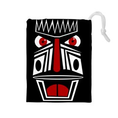 African red mask Drawstring Pouches (Large)