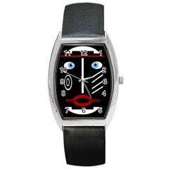 Decorative mask Barrel Style Metal Watch