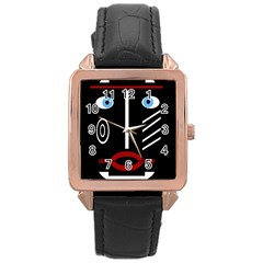 Decorative mask Rose Gold Leather Watch