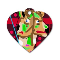 Abstract animal Dog Tag Heart (One Side)