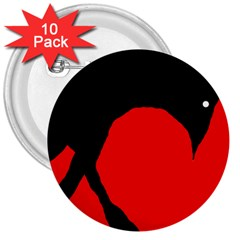 Black raven 3  Buttons (10 pack)