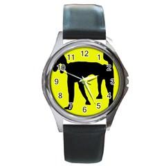 Black dog Round Metal Watch