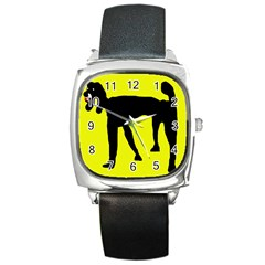 Black dog Square Metal Watch