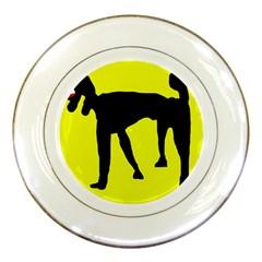 Black dog Porcelain Plates
