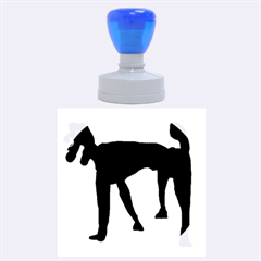 Black dog Rubber Round Stamps (Large)
