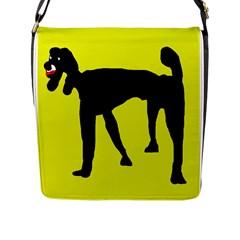 Black dog Flap Messenger Bag (L)