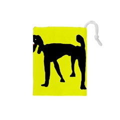 Black dog Drawstring Pouches (Small)