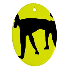 Black dog Ornament (Oval)