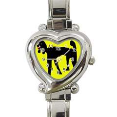 Black dog Heart Italian Charm Watch