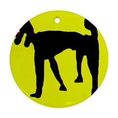 Black dog Round Ornament (Two Sides)