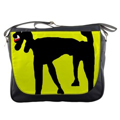 Black dog Messenger Bags
