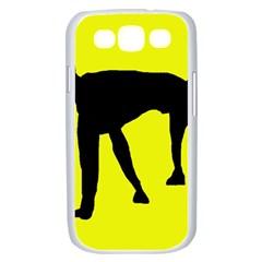 Black dog Samsung Galaxy S III Case (White)