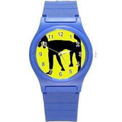 Black dog Round Plastic Sport Watch (S)