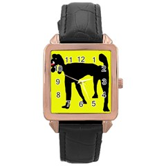Black dog Rose Gold Leather Watch