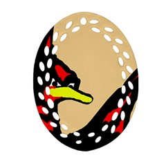 Angry Bird Oval Filigree Ornament (2-Side)