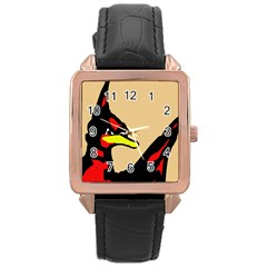 Angry Bird Rose Gold Leather Watch
