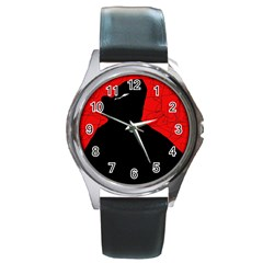 Red and black abstract design Round Metal Watch