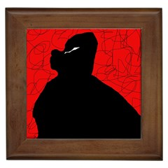 Red and black abstract design Framed Tiles