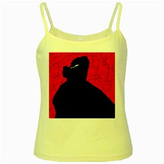 Red and black abstract design Yellow Spaghetti Tank
