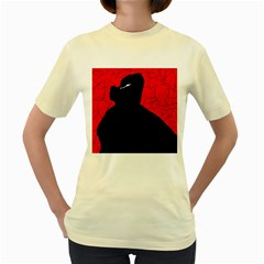 Red and black abstract design Women s Yellow T-Shirt