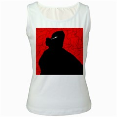 Red and black abstract design Women s White Tank Top