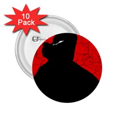 Red and black abstract design 2.25  Buttons (10 pack)